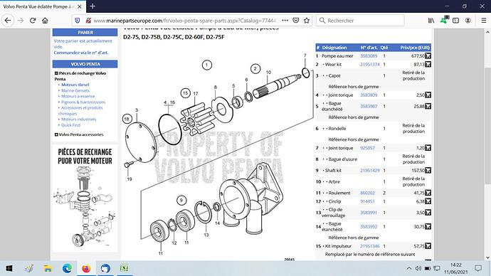 pompe eau de mer Volvo D275 (B,C,F)